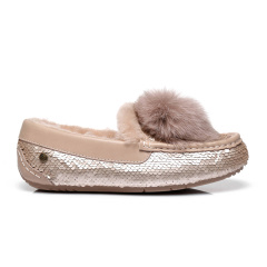 2019新款EVER UGG/EVER UGG羊毛豆豆鞋女时尚百搭亮片平底单鞋322020平跟鞋图片
