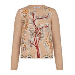 【包邮包税】Dior/迪奥 20春夏 女装 服饰 米色羊绒时尚树枝图案刺绣装饰长袖女士针织衫毛衣图片
