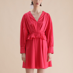【Designer Women】【20春夏】CHENSHIISTUDIO/CHENSHIISTUDIO 荷叶边细节 V领休闲连衣裙 女士连衣裙图片