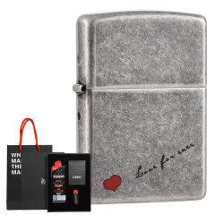 zippo打火机正版芝宝 古银红五角星 仿古银雕刻红心永恒的爱 礼盒套装图片