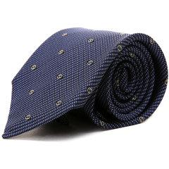 GUCCI/古驰 领带经典款男士深蓝色 双G印花图案商务休闲桑蚕丝领带  【意大利现货 两周左右到港发货】 3493984B0024078
