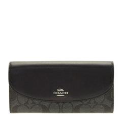 COACH/蔻驰 女士拼色PVC配皮长款C纹标识翻盖钱夹钱包手拿包 多色可选图片