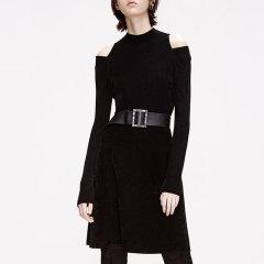 MO&Co./摩安珂女士连衣裙2019冬季新品圆领丝绒露肩连衣裙MAI4DRS003图片