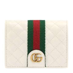 GUCCI/古驰 19秋冬 女士牛皮复古式皮革红绿条菱形纹理短款折叠钱夹钱包图片