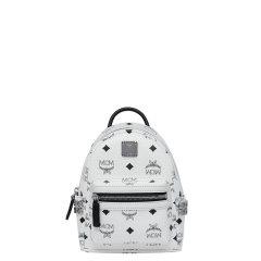 MCM双肩包经典侧边铆钉旅行背包超迷你女包斜跨包肩带可拆MMK6SVE92图片