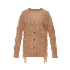 【ONTIME】【Designer Womenwear 19秋冬新品】FLONAKED/FLONAKED 菱纹流苏羊毛针织开衫 两色 女士针织衫/毛衣图片