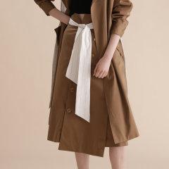 【Designer Women】【19秋冬】CHENSHIISTUDIO/CHENSHIISTUDIO 卡其裙不规则拼接A字裙 女士半身裙图片