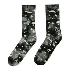 嘿帕/HEIPAR  嘻哈街头男女情侣潮袜运动扎染夜光外星人图案袜子高筒毛巾底滑板袜 HPWZ002图片