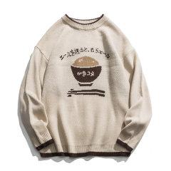 嘿帕/HEIPAR 秋季潮牌拼色米饭图案男士圆领套头嘻哈宽松长袖针织毛衣 H89109图片