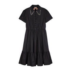 【N°21】 19 年 秋冬  女士 衬衣领 白/黑色 连衣裙(黑色明星同款)图片