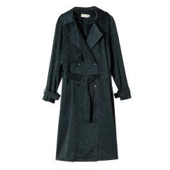 YAWANG CHEN/YAWANG CHEN女装>女士外套>女士风衣日本进口醋酸哑光质地风衣墨绿图片
