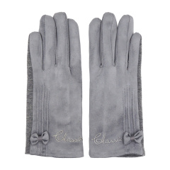 Laq Design 手机平板 触摸屏两指触控 麂皮绒加绒保暖防风手套 女款图片