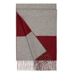 HERMES/爱马仕  羊绒 拼色围巾 波尔多红/灰色图片