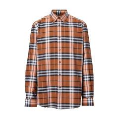 BURBERRY/博柏利  巴宝莉男装复古格子衬衫上装上衣衬衫 男士橘色棉质长袖衬衫 80208671-001#IM图片