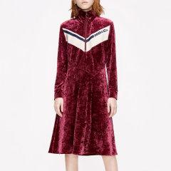 MO&Co./摩安珂女士连衣裙2019冬季新品丝绒拉链运动风连衣裙MAI4DRS031图片