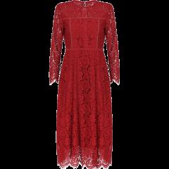 GEGINA/GEGINA 秋冬  蕾丝镂空长袖中长款女士连衣裙  2色图片