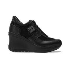 Ruco Line/Ruco Line  黑色刺绣女士坡跟鞋2色 线上专享图片