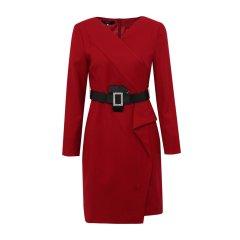19秋冬【DesignerWomenwear】PESARO/PESARO羊毛V领饰带不对称长袖女士连衣裙图片