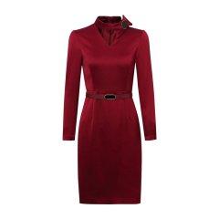 19秋冬【DesignerWomenwear】PESARO/PESAROV领蝴蝶结装饰饰带长袖女士连衣裙图片