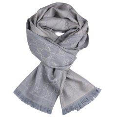 GUCCI/古驰 双G提花图案流苏边针织羊毛围巾  133483 3G200 1272-E19F