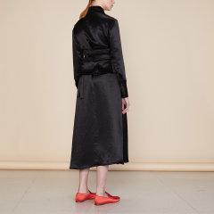 【Designer Women】【19秋冬】CHENSHIISTUDIO/CHENSHIISTUDIO 中国红/黑色 大尖领衬衫连衣裙(不含腰封)女士连衣裙图片