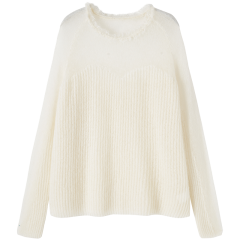 bebe/bebe 【Designer Womenwear】2019冬季新品 女士针织衫/毛衣 肩部透视含马海毛毛衣流苏针织衫 430521图片