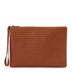 【包邮包税】Bottega Veneta 宝缇嘉 20春夏  女士棕色羊皮编织商务休闲手拿包图片