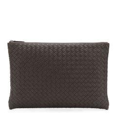 Bottega Veneta 宝缇嘉 20春夏  男士棕色羊皮编织商务休闲手拿包图片
