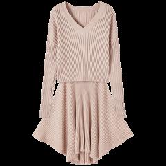 bebe/bebe 【Designer Womenwear】2019冬季新品 女士连衣裙 宽松含绵羊毛两件套针织连衣裙 450012图片