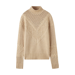 bebe/bebe 【Designer Womenwear】2019冬季新品 女士针织衫/毛衣  镂空绞花羊毛混纺针织衫 430536图片