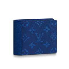 Louis Vuitton/路易威登 2019新款男士 帆布/牛皮钱包 宝蓝色老花logo图片