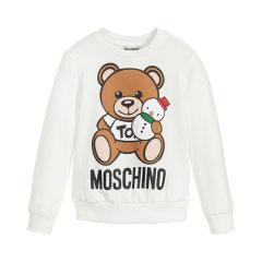 19秋冬 MOSCHINO KIDS/MOSCHINO KIDS 女童混纺加绒薄款小熊图案卫衣图片