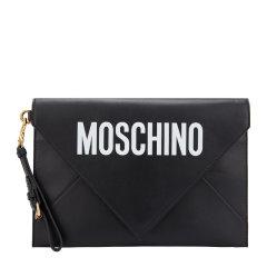 MOSCHINO/莫斯奇诺 男女同款 中性小牛皮时尚字母LOGO印花信封包手拿包腕包 7A8414-8001多色可选图片