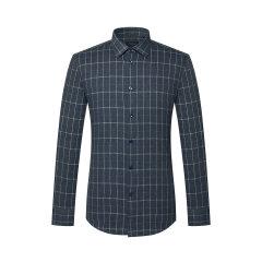TOMBOLINI/东博利尼男士长袖衬衫19秋冬时尚休闲系列蓝色窗格纹羊毛衬衫图片
