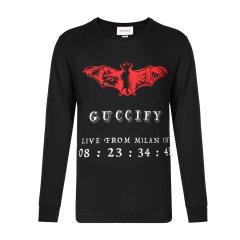 GUCCI/古驰棉质红蝙蝠印花短袖T恤图片