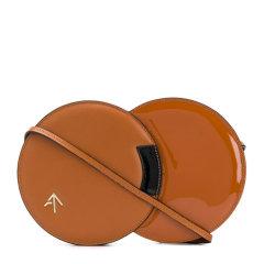MANU ATELIER  女士棕色皮革时尚双圆形单肩包斜挎包箭头包女包 多色可选图片