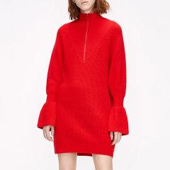 MO&Co./摩安珂女士连衣裙2019冬季新品立领拉链纯羊毛花苞袖针织连衣裙MAI4DRS007图片
