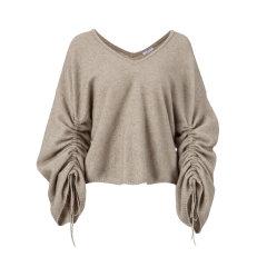 ARETE/ARETE袖子抽绳V领宽松针织上衣女士针织衫/毛衣图片