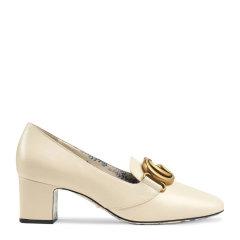 GUCCI/古驰 女士皮革时尚双G LOGO徽标印花商务休闲中跟鞋乐福鞋皮鞋女鞋 多色可选图片