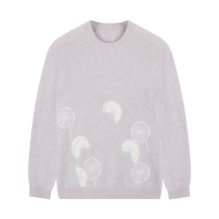 ERDOS/鄂尔多斯 19秋冬新品 圆领提花刺绣羊绒套衫女士针织衫/毛衣图片