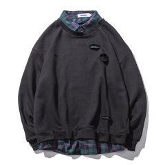 嘿帕/HEIPAR 原创潮牌秋季新款假两件破洞拼接立领卫衣 情侣宽松打底衫上衣 H7584图片