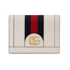 【包邮包税】GUCCI/古驰Ophidia系列经典款 女士皮革拼接红蓝织带 短款名片夹(2色可选)图片