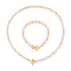 CLORIS/克劳瑞斯  【爆款】时尚彩色淡水珍珠一体链项链&手链手镯手串 精致工艺套装送妈妈图片