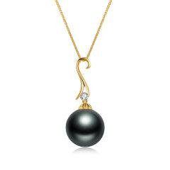 CLORIS/克劳瑞斯 【2020新品】18k金镶嵌钻石、大溪地黑珍珠吊坠&耳环 套装 送给爱人礼物图片