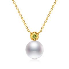 CLORIS/克劳瑞斯 18K金 Akoya海水珍珠 镶嵌黄色钻石 项链&耳环 套装 送给爱人礼物图片