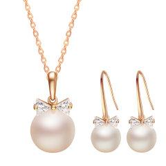CLORIS/克劳瑞斯 14K金 AKOYA海水珍珠领结 吊坠&耳环 套装 送给爱人礼物图片