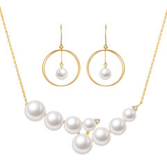 CLORIS/克劳瑞斯【2020新品】 18K日本Akoya海水珍珠 项链&耳环 套装 送给爱人礼物图片