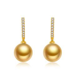 CLORIS/克劳瑞斯 【新品】18k金南洋海水金珠镶嵌钻石 吊坠&耳环 套装 送给爱人礼物图片