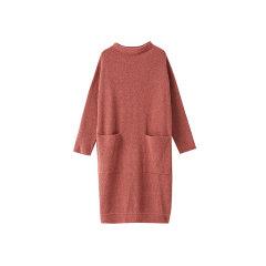 EXCEPTION/例外 原创设计19年秋冬新款溯圈羊毛针织半高领H型宽松连衣裙-女士连衣裙图片