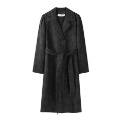 EXCEPTION/例外 原创设计时尚气质羊毛剪花长款风衣女 舒适保暖梭织外套-女士风衣图片